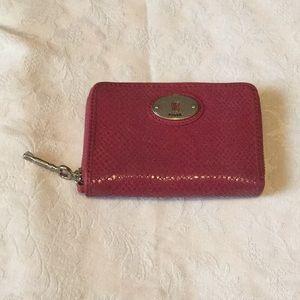 Fossil hot pink snakeskin zip around wallet